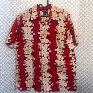 Cherokee red hibiscus tropical Hawaiian shirt